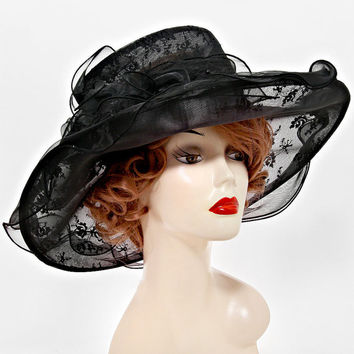 Black Sinamay Wedding Dress Hat Kentucky Derby Hat Women Wide Brim Church Hat New