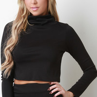 Turtle Neck Long Sleeve Crop Top