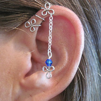 "No Piercing ""Dangling Shamrocks"" Helix Cuff Ear Cuff for Upper Ear 1 Cuff"