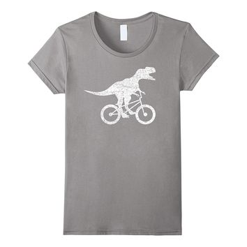 Funny BMX Shirt: Dinosaur On Bike BMX Rider Biker T-Shirt
