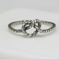 Eternity Love Knot Ring, Lovers Ring, Twisted Sterling Silver Knot RIng, Blackened Silver, US Size 5 Ring, Handmade by Maggie McMane Designs