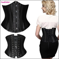 FeelinGirl Plus Size XS-6XL Steel Boned Cincher Waist Trainer Underbust Corsets and Bustiers Burlesque Costume Wedding Dress Underwear Lingerie = 1697112452