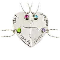 "BFF Heart"" Best Friends Forever And Ever"" 4pcs/set Heart Puzzle Pendant & Necklace Shape Puzzle Hand Stamped Friendship Jewelry"
