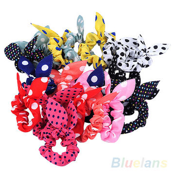 10Pcs Rabbit Ear Hair Tie Bands Accessories Japan Korean Style Ponytail Holder  2MOC
