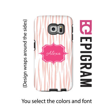 Personalized Samsung Galaxy S6 Edge case, pink tiger print Samsung Galaxy S6 case, galaxy s5 case, animal print phone case, 3D case
