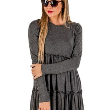 Chicloth Gray Long Sleeve Layered Babydoll Tunic