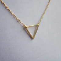 thin triangle necklace, tiny geometric chain necklace, simple gold necklace, choker, geometric jewelry  //  N185
