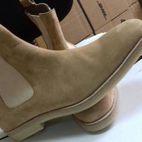 Handmade mens crepe sole boot, Men beige Chelsea boots, Mens ankle boot