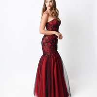 Black & Red Knoxville Mermaid Gown 2015 Prom Dresses