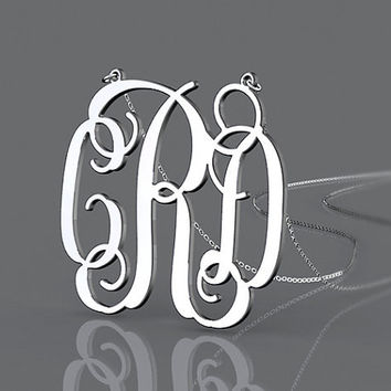 Silver monogram 1 inch 3 initial name monogram necklace--personalized 925 sterling silver necklace