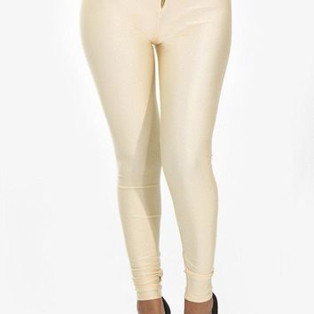 Zipper High Waist Shiny Leggings - Beige