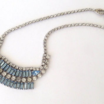 DUANE Light Blue Pastel Rhinestone Necklace - Bib Style - SIGNED - Rare Vintage - Gorgeous Perfect with Any Outfit!