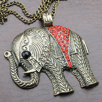SALE! Boho Vintage Bronze Big Elephant Pendant Necklace With Red Rhinestones And Carved Pattern