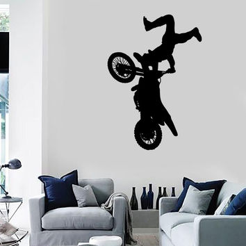 Vinyl Decal Wall Sticker Silhouette Motorcycle Motocross Freestyle Decor Unique Gift (n770)