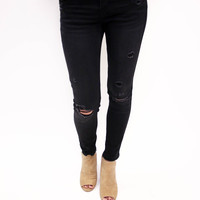 Black Distressed Skinny Jean