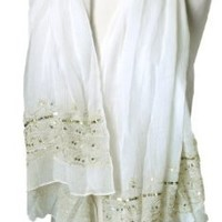 Light & Soft Sequined White Scarf
