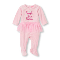 Layette Velour 'Sparkle Like A Princess' Tutu Footed Coverall | The Children's Place