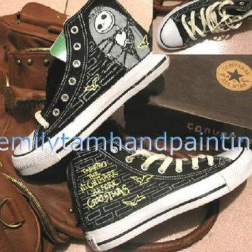 ESBUG7 The Nightmare Before Christmas Custom Converse Shoes- Hand Painting High Top Converse