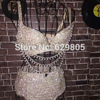 Glisten Silver Bikini Shining Short Outfit Women'Stage Performance Singer Evening Celebrate Costume