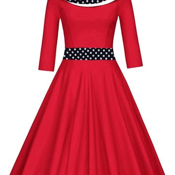 Retro Polka Dot Fit and Flare Dress