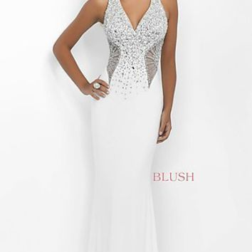 Low V-Neck Beaded Illusion Cut-Out Blush Dress