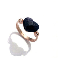 Classic Style Black Heart Ring