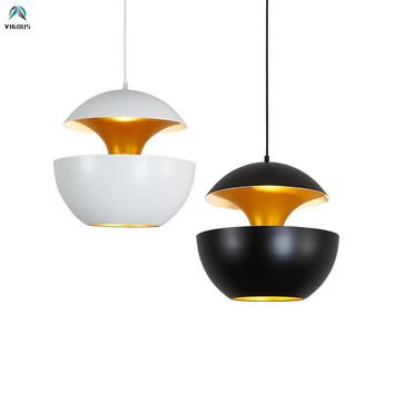 Nordic Designer Black / White Aluminium Apple Shape Led Pendant Lights