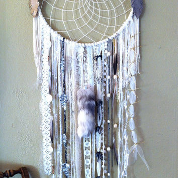 Custom Order LARGE 14 inch WHITE DREAMCATCHER doily or woven your choice, multiple sizes available