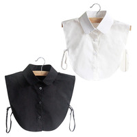Fashion Doll Collar Vintage Elegant Women's Fake Half Shirt Detachable Blouse Black White Colors