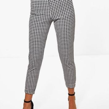 Somaia Monochrome Check Skinny Stretch Trousers | Boohoo