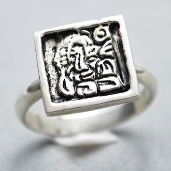 Sterling Silver Mayan Glyph Ring Size 7
