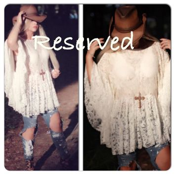 Bohemian lace tunic, boho gupsy spell creme lace ruffle top, romantic summer clothing, boho shirt, True Rebel Clothing