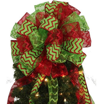 Red Lime Green Chevron Glitter Tree Topper Christmas Bow