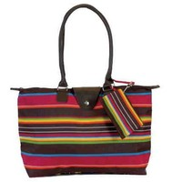 Fold-Up Tote Bag with Long Handle - Chocolate Stripe