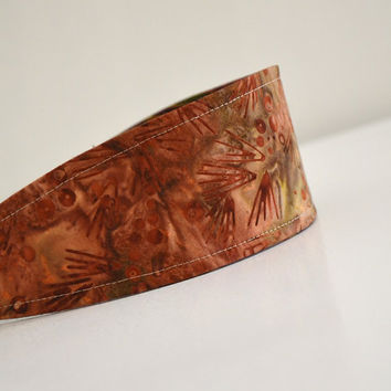 Reversible Fabric Headband / Brown batik and woven by 464Handmade