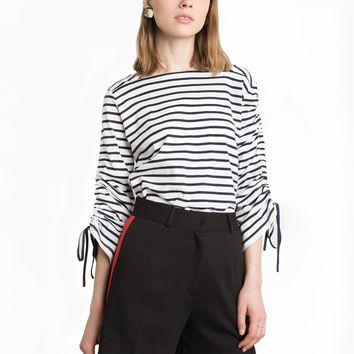 STRIPED RUCHED TIE SLEEVE TOP