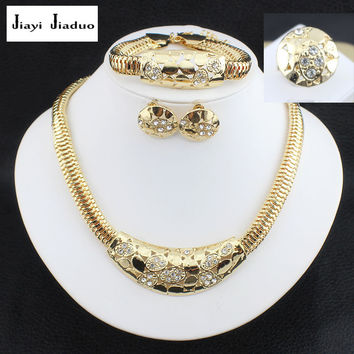 jiayijiaduo Wedding Fine Jewelry African Costume Jewelry Set  Gold color Bridal Jewelry Sets Party Earing And Necklace Sets
