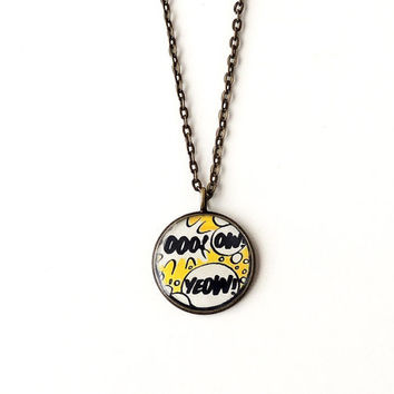 Pop Art Necklace, Recycled Words Comic Cartoon Book Character Pendant, Black Yellow, Pop Art Jewelry, Resin Jewelry,Typography Words