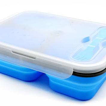 PuTwo Lunch box Bento Box Collapsible BPA-Free Kids Lunch Box with 3 Compartments and Cutlery