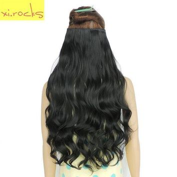 ESB1ON Xi.Rocks 5 Clip in Hair Extensions 70cm Length 120g Synthetic Hair Clips Extension 25 Colors Curly Hairpiece Hairpin Barrettes