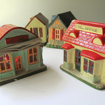 Vintage Composition House Store Office Gasoline Christmas Village Houses Display Train Track Layout Light Up Stone House Holiday Decor 1950s