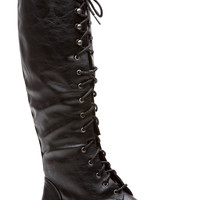 Black Faux Leather Miss Military Knee High Lace Up Combat Boots