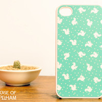 Squirrel and Polka Dot iPhone Case in Mint Green - Polka Dot and Squirrels iPhone Case - Mint Green iPhone 4 Case