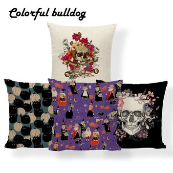 Horror Pumpkin Witchcraft Cushion Cover Halloween Sugar Skull Pillowcase European Meditation Home Decor Throw Pillow 45*45 Linen