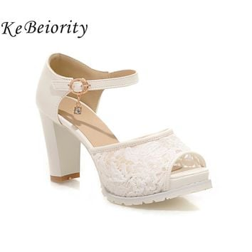 KEBEIORITY 2018 High Heel Shoes Woman Ankle Strap Platform Sandals Summer Pink White Wedding Shoes Pumps Women Sandalias