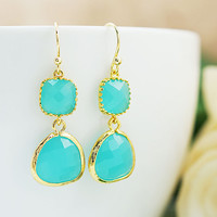 Wedding Jewelry Bridesmaid Gift Bridesmaid Earrings Dangle Earrings Gold Framed Sea Foam Mint Opal glass drop Earrings