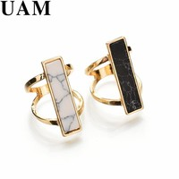 Punk Black White Rectangle Faux Marble Stone Gold Color Double Layer Rings For Women Party Jewelry Women anel anillos