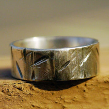 Custom Rugged Sterling Silver Ring Band for Men / Women, Woodgrain Finish, Silver Wedding Band, Alternative and Everyday Ring, Promise Ring