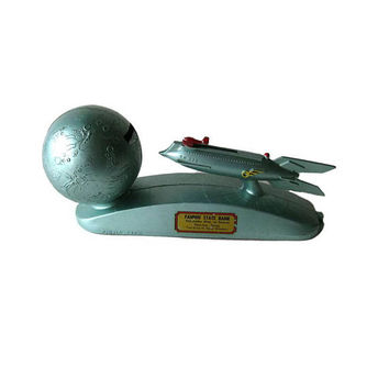 Strato Rocket Ship Mechanical Bank - Cast Iron Bank - Vintage Bank - Collectible Coin Bank - Toy Bank - Vintage Piggy Bank - Space Age Toy