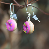 Pink Sprinkles Donut Earrings - Polymer Clay Charm